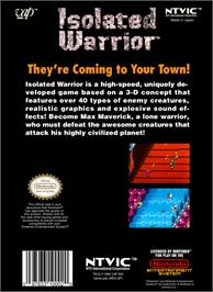 Box back cover for Isolated Warrior on the Nintendo NES.