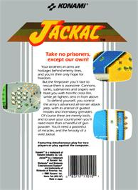 Box back cover for Jackal on the Nintendo NES.