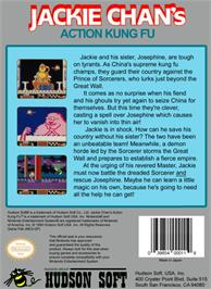 Box back cover for Jackie Chan's Action Kung Fu on the Nintendo NES.