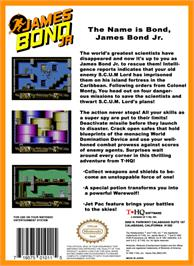 Box back cover for James Bond Jr. on the Nintendo NES.