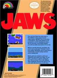 Box back cover for Jaws on the Nintendo NES.