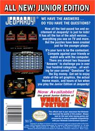 Box back cover for Jeopardy! Junior Edition on the Nintendo NES.