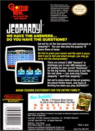 Box back cover for Jeopardy on the Nintendo NES.