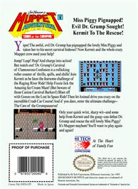 Box back cover for Jim Henson's Muppet Adventure: Chaos at the Carnival on the Nintendo NES.