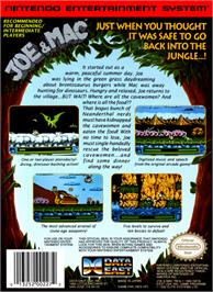 Box back cover for Joe & Mac: Caveman Ninja on the Nintendo NES.