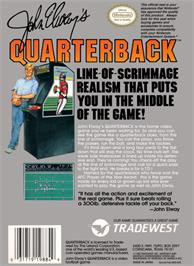 Box back cover for John Elway's Quarterback on the Nintendo NES.