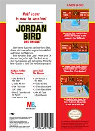 Box back cover for Jordan vs. Bird: One-on-One on the Nintendo NES.
