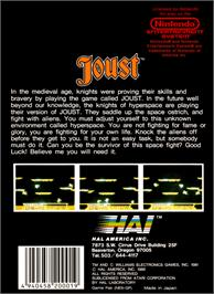 Box back cover for Joust on the Nintendo NES.