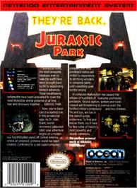 Box back cover for Jurassic Park on the Nintendo NES.
