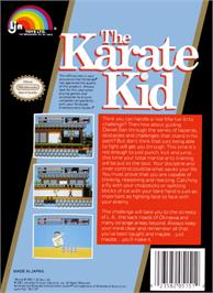 Box back cover for Karate Kid on the Nintendo NES.