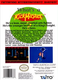 Box back cover for Kick Master on the Nintendo NES.