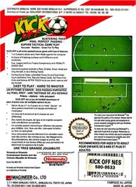 Box back cover for Kick Off on the Nintendo NES.