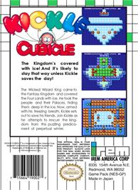 Box back cover for Kickle Cubicle on the Nintendo NES.