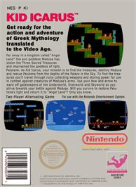 Box back cover for Kid Icarus on the Nintendo NES.