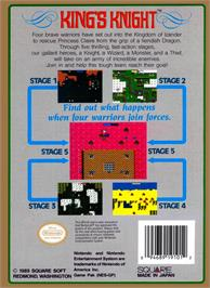 Box back cover for King's Knight on the Nintendo NES.