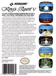 Box back cover for King's Quest V: Absence Makes the Heart Go Yonder on the Nintendo NES.