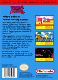 Box back cover for Kirby's Adventure on the Nintendo NES.