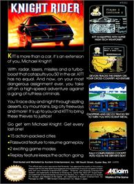 Box back cover for Knight Rider on the Nintendo NES.