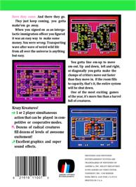 Box back cover for Krazy Kreatures on the Nintendo NES.