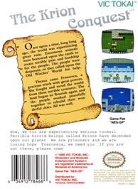 Box back cover for Krion Conquest on the Nintendo NES.