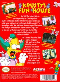 Box back cover for Krusty's Fun House on the Nintendo NES.