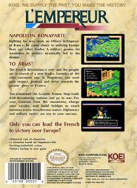 Box back cover for L'Empereur on the Nintendo NES.
