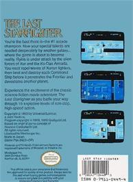 Box back cover for Last Starfighter on the Nintendo NES.
