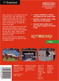 Box back cover for Legacy of the Wizard on the Nintendo NES.