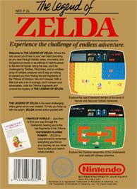 Box back cover for Legend of Zelda on the Nintendo NES.
