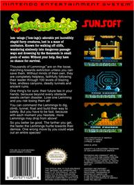 Box back cover for Lemmings on the Nintendo NES.