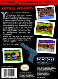 Box back cover for Lethal Weapon on the Nintendo NES.