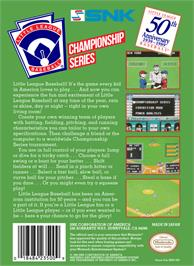 Box back cover for Little League Baseball Championship Series on the Nintendo NES.