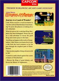 Box back cover for Little Nemo: The Dream Master on the Nintendo NES.