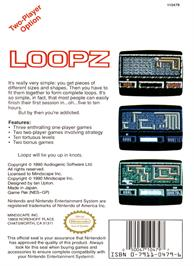 Box back cover for Loopz on the Nintendo NES.