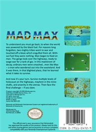 Box back cover for Mad Max on the Nintendo NES.