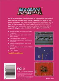 Box back cover for Mag Max on the Nintendo NES.