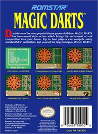 Box back cover for Magic Darts on the Nintendo NES.