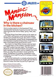 Box back cover for Maniac Mansion on the Nintendo NES.