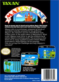 Box back cover for Mappy Land on the Nintendo NES.