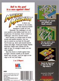 Box back cover for Marble Madness on the Nintendo NES.