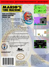 Box back cover for Mario's Time Machine on the Nintendo NES.