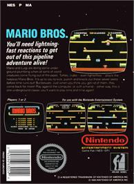 Box back cover for Mario Bros. on the Nintendo NES.