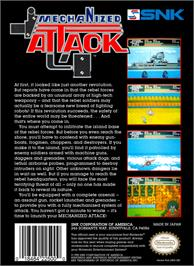 Box back cover for Mechanized Attack on the Nintendo NES.