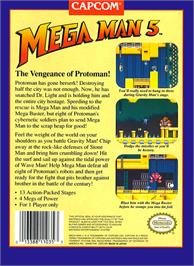 Box back cover for Mega Man 5 on the Nintendo NES.