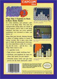 Box back cover for Mega Man III on the Nintendo NES.