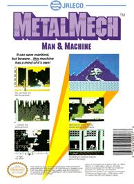 Box back cover for MetalMech: Man & Machine on the Nintendo NES.