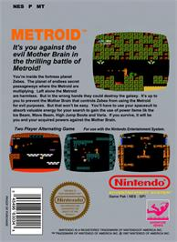Box back cover for Metroid on the Nintendo NES.
