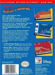 Box back cover for Mickey's Adventures in Numberland on the Nintendo NES.