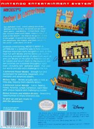 Box back cover for Mickey's Safari In Letterland on the Nintendo NES.