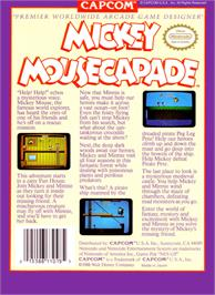 Box back cover for Mickey Mousecapade on the Nintendo NES.